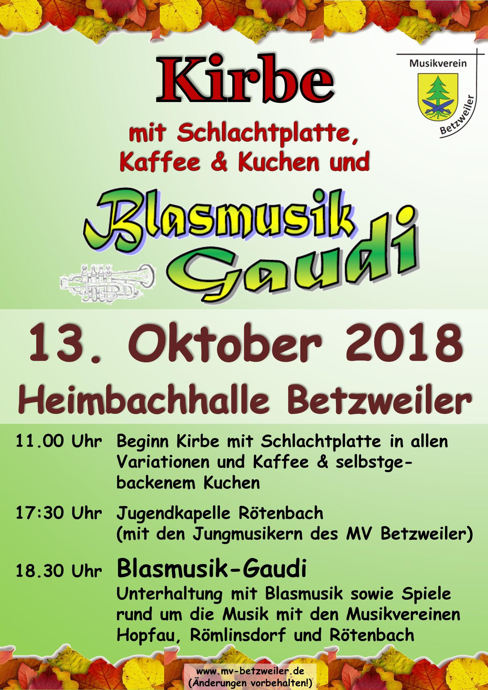 Einladung Kirbe Blasmusikgaudi 2018